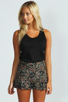 Ashella Tapestry High Waisted Shorts at boohoo.com