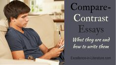 Learn how to write a compare-contrast essay so you can study the similarities and differences in a topic. Here are instructions and a sample question. Essay Outline Template, Similarities And Differences, Compare And Contrast, Graphic Organizers, Grammar, Literature, High School, Study, Writing
