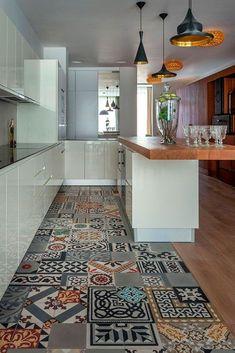 New kitchen grey stone interior design Ideas Kitchen Floor Tile Patterns, Patterned Kitchen Tiles, Kitchen Flooring, Modern Flooring, Concrete Kitchen, Stone Interior, Kitchen Interior, Interior Design, Kitchen On A Budget