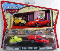 Cars Movie Moments Luigi & Ferrari F430 by Mattel. $21.97. From the Manufacturer                Your favorite characters from the hit Disney/Pixar movie CARS, are available in new collectible die-cast 2-Packs. Each 2-pack features a hard to find car that's not available in the current main line. Look for Cactus McQueen, Doc Hudson and Sheriff; Pace Car, Lightning McQueen and The King; and Dinoco Chick Hicks Mia and Tia. Relive the friendship and fun with the film's her...