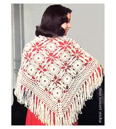Womens Crochet Shawl Pattern Vintage Motif by DigitalPatternShop