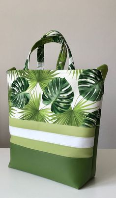 Womans bag, green, white, shoulder bag, leafs