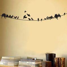 Muursticker met vogels op een lijn. Door roosterhaar
