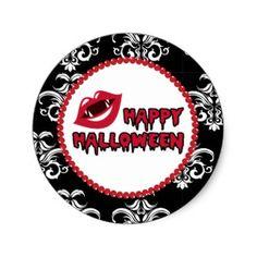 Vampire Fangs, Happy Halloween Sticker