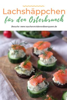 Lachs-Gurken-Häppchen Schnelles Fingerfood Salmon snacks with cucumber or pumpernickel. Fast finger food for breakfast, party or Easter brunch. Finger food with salmon for the buffet. Party Finger Foods, Snacks Für Party, Brunch Recipes, Breakfast Recipes, Snack Recipes, Easter Recipes, Quick Snacks, Healthy Snacks, Breakfast Party