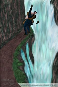 Painting: Sherlock Holme's and Moriarty go over the Reichenbach Falls in this recreation Giclée Print of Sidney Padget's original sketch for the Strand Magazine.    www.VirenProductions.com
