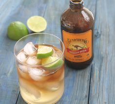 Dark & Stormy drink recipe.  Ginger beer, dark rum, lime juice and ice.  Great for fall