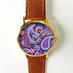Purple Paisley  Watch Vintage Style Leather Watch Women by FreeForme | Etsy