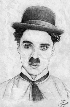 Charly Chaplin, Art Drawings Sketches, Art Projects, Portrait, Caricatures, Celebrity, Drawing Faces, Headshot Photography, Portrait Paintings