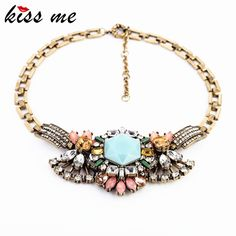 >> Click to Buy << xl00174 KISS ME New Designs 2017 Fashion jewelry  Vintage Metal Rhinestone Pendant Necklace For Women #Affiliate