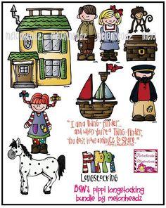Pippi Longstocking bundle by melonheadz by melonheadzdoodles, $7.00