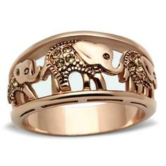 Rose Gold Tone Three Elephant Cubic Zirconia Right Hand Band Ring $13.49