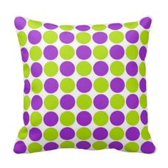 Lime green and purple polka dot pattern on white background decorative throw