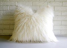 $40 White Shag Pillow Cover - Faux Fur Throw - Mongolian Lamb Decorative Pillow - Vegan Fur Pillow    This ultra cuddly pillow cover is made of a