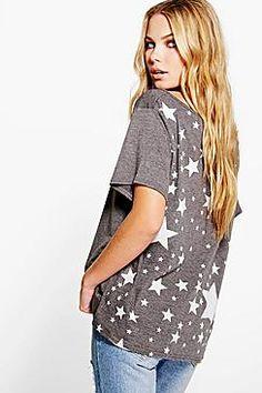 f19a580568 Lily Oversized Slash Star Back Print Camisa De Manga Comprida