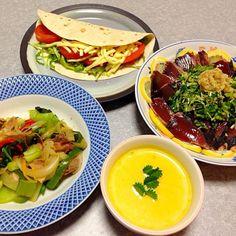 今夜は娘のリクエストで、 タコス、 鰹のタタキ、 野菜炒め、 カボチャのスープ です。 - 11件のもぐもぐ - 鰹のタタキ ほか by orieueki