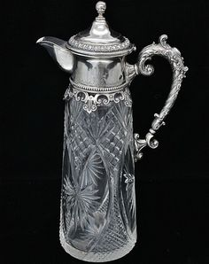 AMAZING VICTORIAN ETCHED SILVER PLATE & CUT GLASS WINE EWER CLARET JUG PITCHER