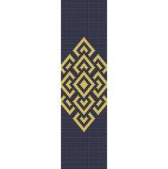Diamond Overlay Cuff Bracelet  -  Loom or 7 Drop Odd Peyote Bead Pattern