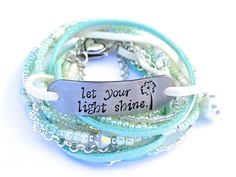 """Hand Stamped Leather Multi Wrap Bracelet. - """"Let your light shine"""" by AllStrungOut925"""