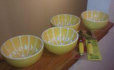 Vintage ceramic grapefruit bowls set of four with 2 spoons