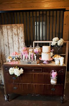 Gorgeous dessert table ~ Rustic Chic Meets French Style Wedding Ideas   www.bellethemagaz... ~ Limelight Photography,  Très Chic Southern Weddings
