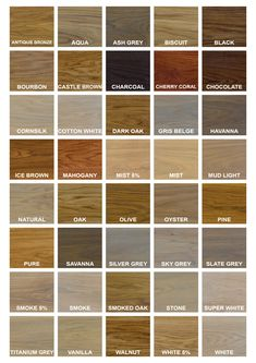Standard colours of our RMC Oil Plus 2C interior wood oils.