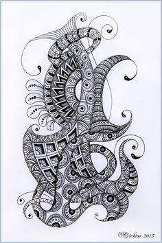 Viktoriya Crichton_Ukraine Nikolaev_Zentangle, graphic, hand-made, pattern, tangle, zendoodle