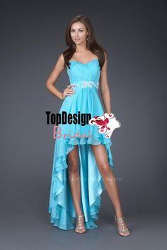 Wholesale vestido de festa free shipping turquoise beading high-low short dama dress 16037