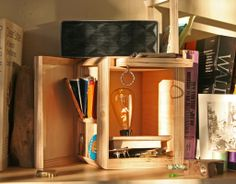 How to: Make a Secret Compartment Plywood Lamp | Man Made DIY | Crafts for Men | Keywords: DIY, storage, organization, secret