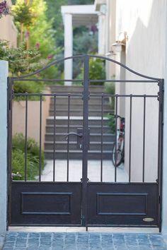 House Main Gates Design, Front Gates, Wrought Iron Gates, Garden Doors, Santa Barbara, Yard, Outdoor Structures, Exterior, Gate Ideas
