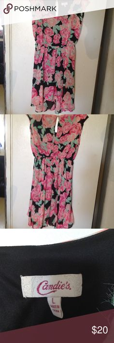 Candie's floral summer dress size L Candie's floral scoop neck, sleeveless, asymmetrical hem, and keyhole in back size L Candie's Dresses Midi