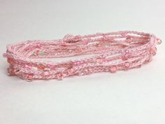Long Wrap Bracelet Pink Blush Beaded Crochet.  Stocking Stuffer under 5 by CuriousPurplePig