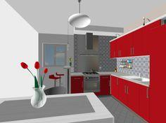 cervena kuchynska linka #kuchyna #nabytokbetak #nabytok #kuchynasnov #kuchynanamieru #3d #vizualizacia #interierovydizajn