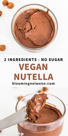 Homemade vegan Nutella recipe with 2 ingredients! This vegan chocolate spread is healthy, oil-free, refined sugar-free and delicious with pancakes and crepes! Vegan Dessert Recipes, Vegan Sweets, Healthy Sweets, Whole Food Recipes, Cooking Recipes, Drink Recipes, Healthy Nutella Recipes, Healthy Eating, Health Desserts