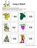 Long E Matching Game:Cut the cards on both pages. Match the pictures to the correct vowel sounds.  Long EMatching Game – Click Here    Information: Vowels, Long E, Long Vowel E