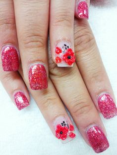 Red glitter with red 3D flowers...@ Beaumont Top Nails & Spa...