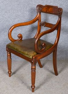Regency Carver Chair - Antiques Atlas - get 2 carvers for dining table Regency Furniture, Georgian Furniture, Antique Furniture, Sofa Chair, Upholstered Chairs, Furniture Styles, Cool Furniture, Regency House, Traditional Chairs