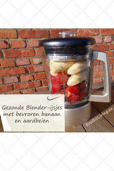 Gezonde ijsjes maken zonder ijsmachine - met bevroren bananen in de blender. #ijsjes #recept #gezondeijsjes