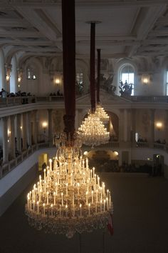 An unusual view of the Spanish Riding School, Vienna...gorgeous chandeliers.