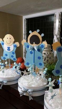Baby Shower Azul, Mesas Para Baby Shower, Baby Shower Deco, Baby Shower Games, Baby Shower Parties, Baby Boy Shower, Baby Shower Centerpieces, Party Centerpieces, Baby Showers