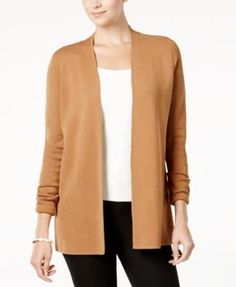Charter Club Open-Front Cardigan, Created for Macy's - Purple XXL