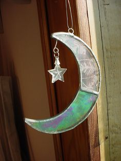 Stained Glass Suncatcher Crescent Moon 4 inch Frosted Silver tone Metal #Unbranded Seller florasgarden on ebay