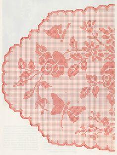 Professione Donna: Schemi per il filet: Centrotavola ovale con rose e farfalle