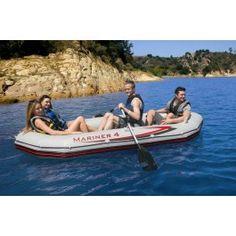 """Intex - Schlauchboot-Set """"Mariner 4"""" 328 x 145- Art. 68376  Kurzübersicht Lieferumfang    Index - Schlauchboot-Mariner 4   3X aufblasbare Sitzkissen   2X Angelrutenhalterungen Ruderhalterungen mit angeschweißten Ruderdollen   inklusive Zubehör: 2 Paddel, Luftpumpe, Reparatur-Set und 2 Zubehörtaschen) Maße: 328 x 145 x 48"""