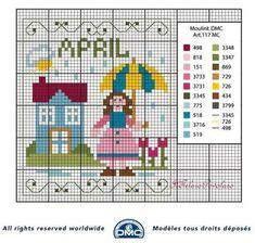 Schema DMC dedicato al mese di Aprile, per il calendario perperpetuo