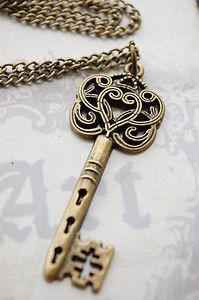alice in wonderland ornate bronze key necklace vintage kitsch   eBay