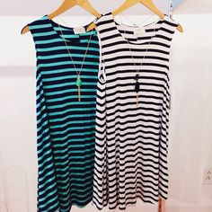 Striped t-shirt dresses, also available in coral and lavender! #shopfedora