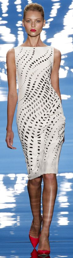 #Reem Acra Spring Summer 2013 Ready-To-Wear Collection   #Trends Leather, Perforated & White