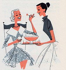 Midcentury illustration - appetizers at a cocktail party! People Illustration, Graphic Design Illustration, Book Illustration, Retro Illustrations, Vintage Prints, Vintage Ads, Vintage Designs, Retro Kunst, Retro Art
