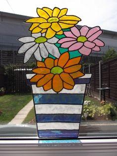 Gerber Daisies Flower Pot Static Window Cling